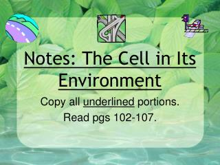 Notes: The Cell in Its Environment