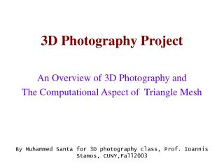 3D Photography Project