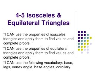 4-5 Isosceles & Equilateral Triangles