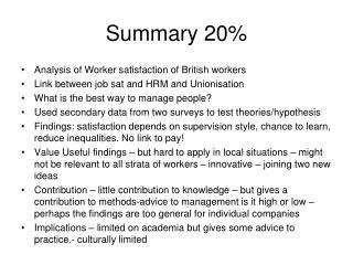 Summary 20%