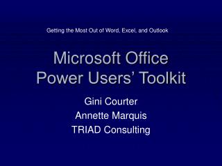 Microsoft Office  Power Users' Toolkit