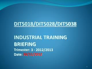 DIT5018/DIT5028/DIT5038 INDUSTRIAL TRAINING  BRIEFING Trimester: 3 - 2012/2013 Date:  30/11/2012