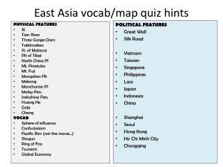 East Asia vocab/map quiz hints