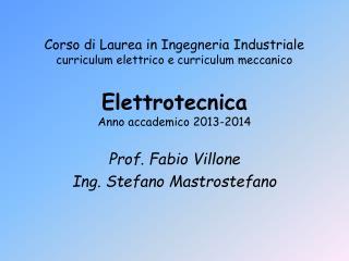 Elettrotecnica Anno accademico  2013-2014