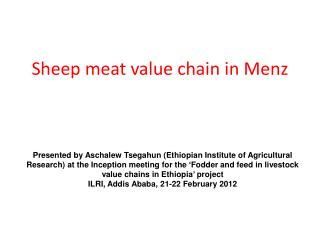 Sheep meat value chain in Menz