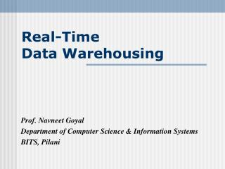 Real-Time  Data Warehousing