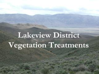 Lakeview District Vegetation Treatments