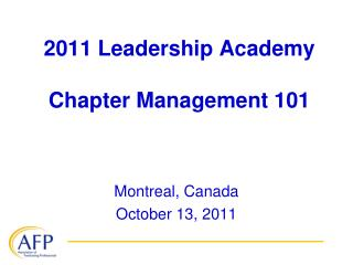2011 Leadership Academy Chapter Management 101