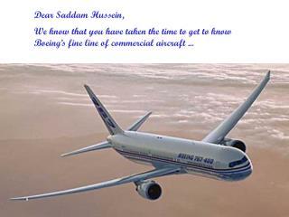 Dear Saddam Hussein,