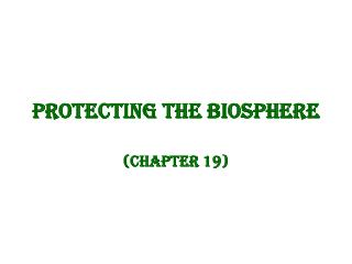 Protecting the Biosphere