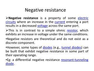 Negative resistance