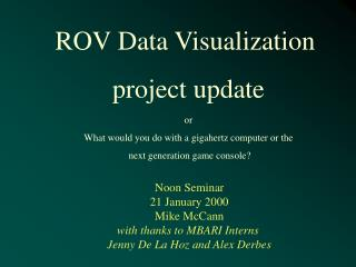 ROV Data Visualization  project update or