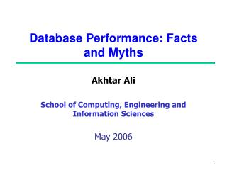 Database Performance: Facts and Myths