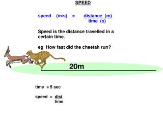 The slope tells us the speed: speed  =  20m   = 5m/s   4s