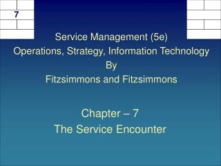 Chapter   7 The Service Encounter