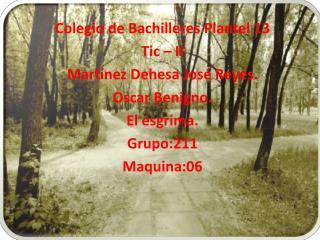 Colegio de  B achilleres Plantel 13 Tic – II Martínez Dehesa José Reyes. Oscar Benigno.