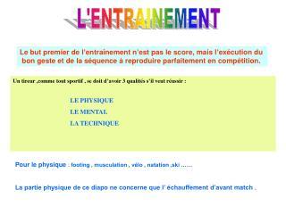 L'ENTRAINEMENT
