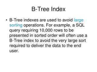 B-Tree Index