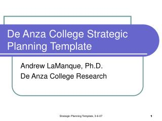 De Anza College Strategic Planning Template