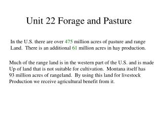 Unit 22 Forage and Pasture