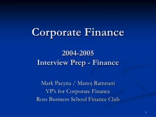 Corporate Finance  2004-2005 Interview Prep - Finance