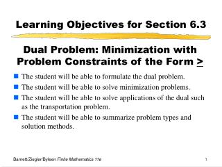 Learning Objectives for Section 6.3