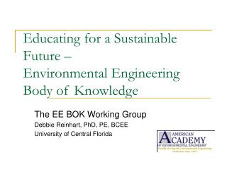 Educating for a Sustainable Future –  Environmental Engineering Body of Knowledge