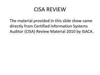 CISA REVIEW