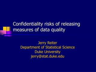 Confidentiality risks of releasing measures of data quality