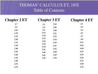 THOMAS' CALCULUS ET, 10/E Table of Contents