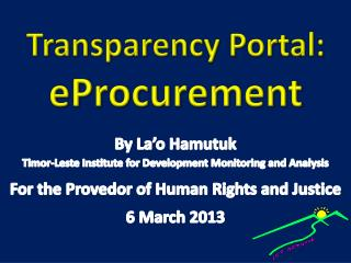 Transparency Portal:  eProcurement