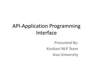 API-Application Programming Interface