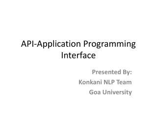 API-Application Programming Interface