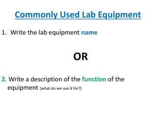 Commonly Used Lab Equipment