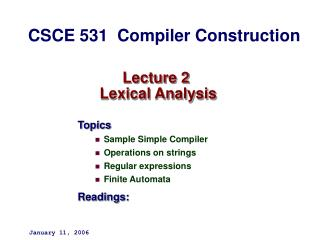 Lecture 2   Lexical Analysis