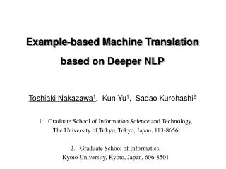 Example-based Machine Translation based on Deeper NLP