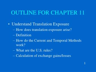 OUTLINE FOR CHAPTER 11