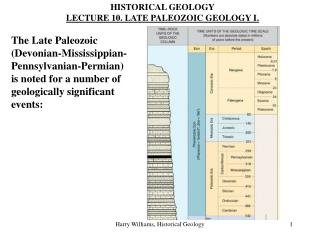HISTORICAL GEOLOGY LECTURE 10. LATE PALEOZOIC GEOLOGY I.