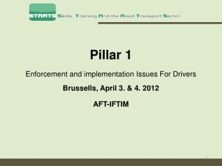 Pillar 1  Enforcement and implementation Issues For Drivers Brussells , April 3. & 4. 2012