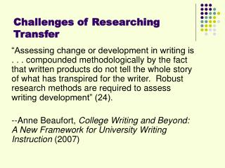 Challenges of Researching Transfer