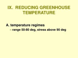 IX.  REDUCING GREENHOUSE TEMPERATURE
