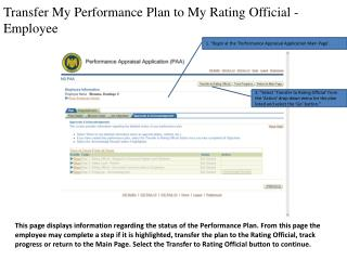 Transfer My Performance Plan to My Rating Official - Employee