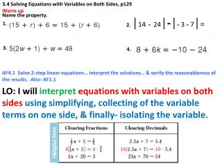 3.4 Solving Equations with Variables on Both Sides, p129 Warm up