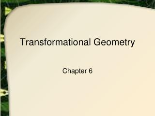 Transformational Geometry