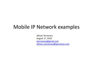 Mobile IP Network examples