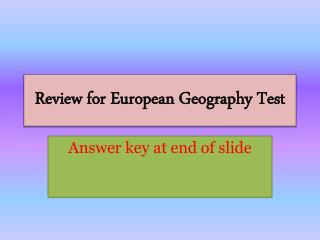 Review for European Geography Test