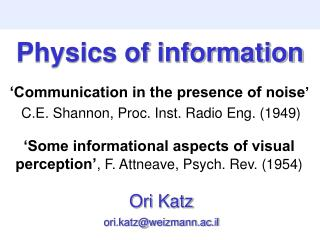 Physics of information