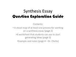 Synthesis Essay  Question Exploration Guide