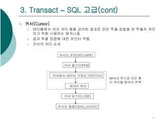 3. Transact  –  SQL  고급 (cont)