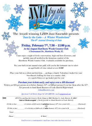 "The Award-winning LZHS Jazz Ensemble presents  ""Jazz by the Lake – A Winter Wonderland"""